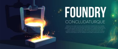 Modern foundry production realistic vector banner