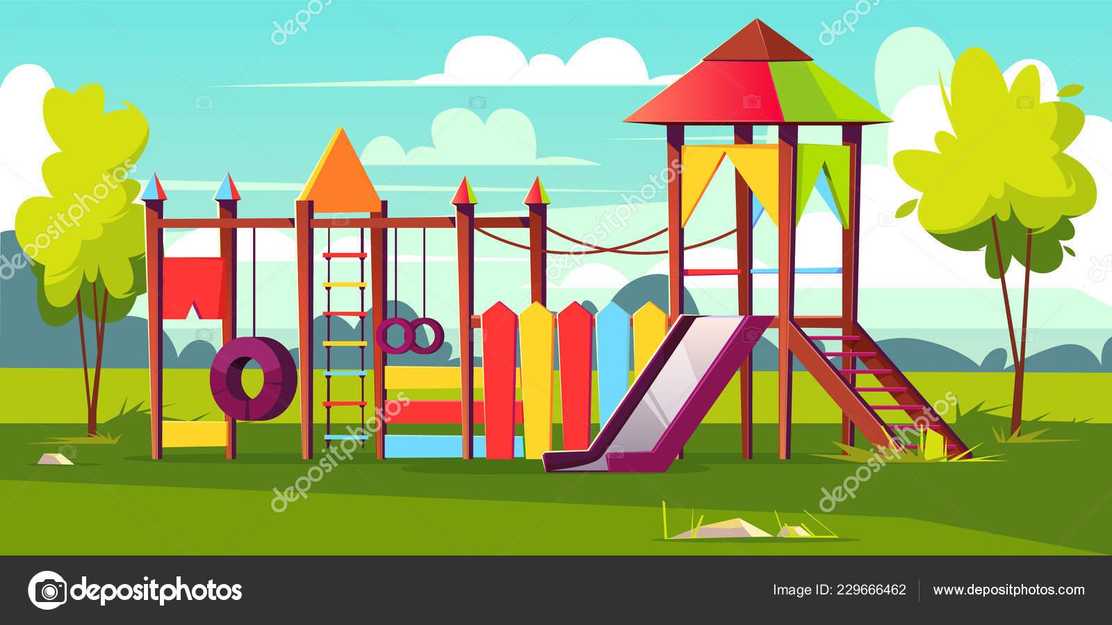 5c13e989361 Διάνυσμα φωτεινό παιδική χαρά για παιδιά στο πάρκο — Διανυσματικό ...