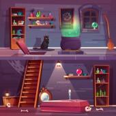 Boszorkány ház quest háttér vektor, pince