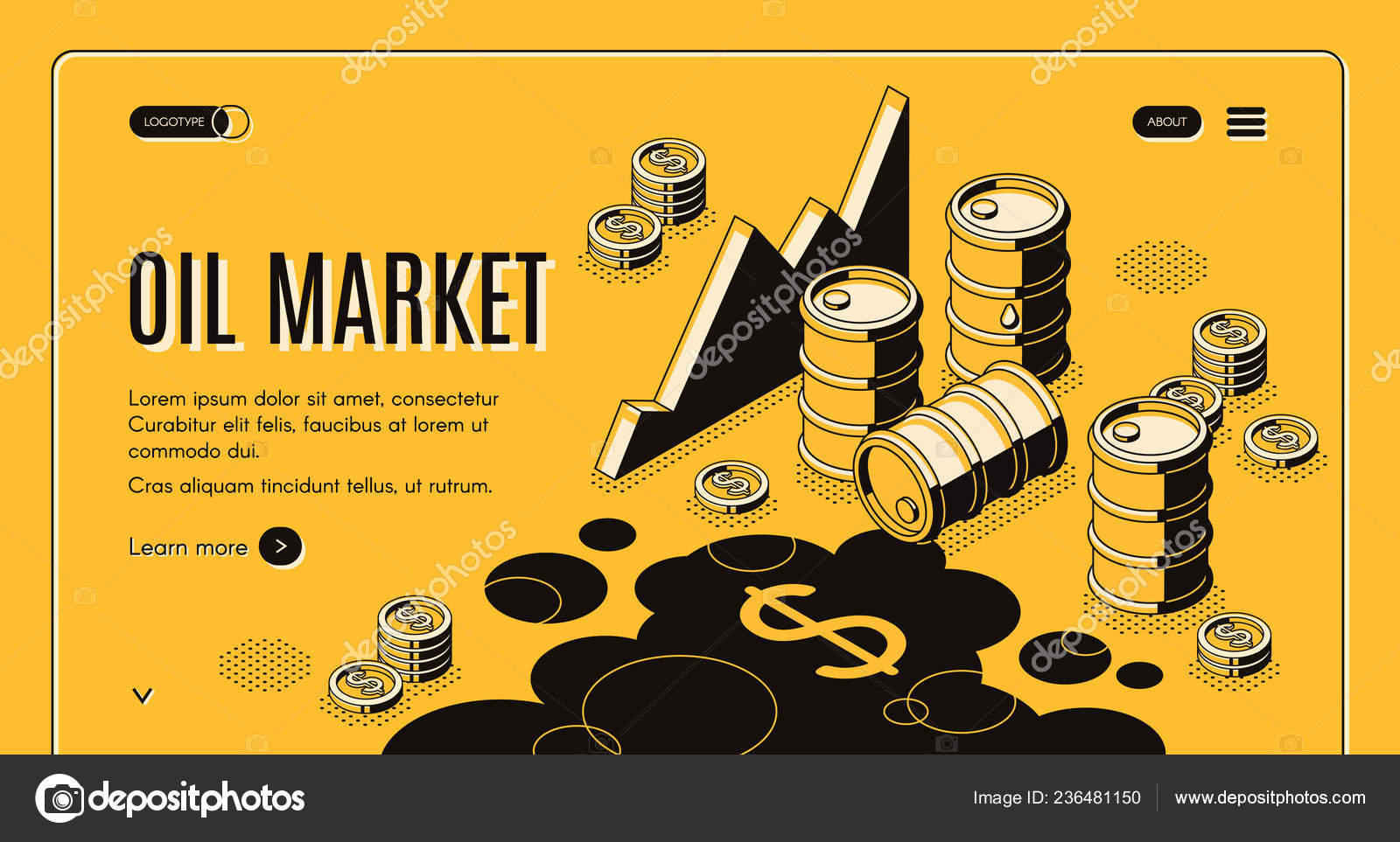 Oil trade market isometric vector webpage template — Stock