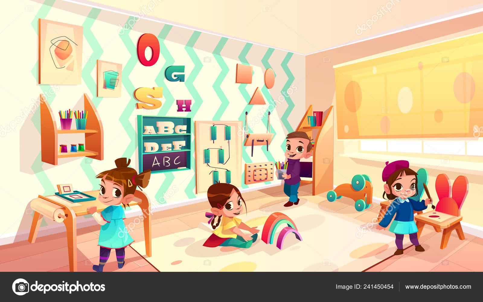 Vector de sala montessori con niños jugando — Archivo ...