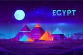 Fotografia Piramidi egiziane notte paesaggio del fumetto
