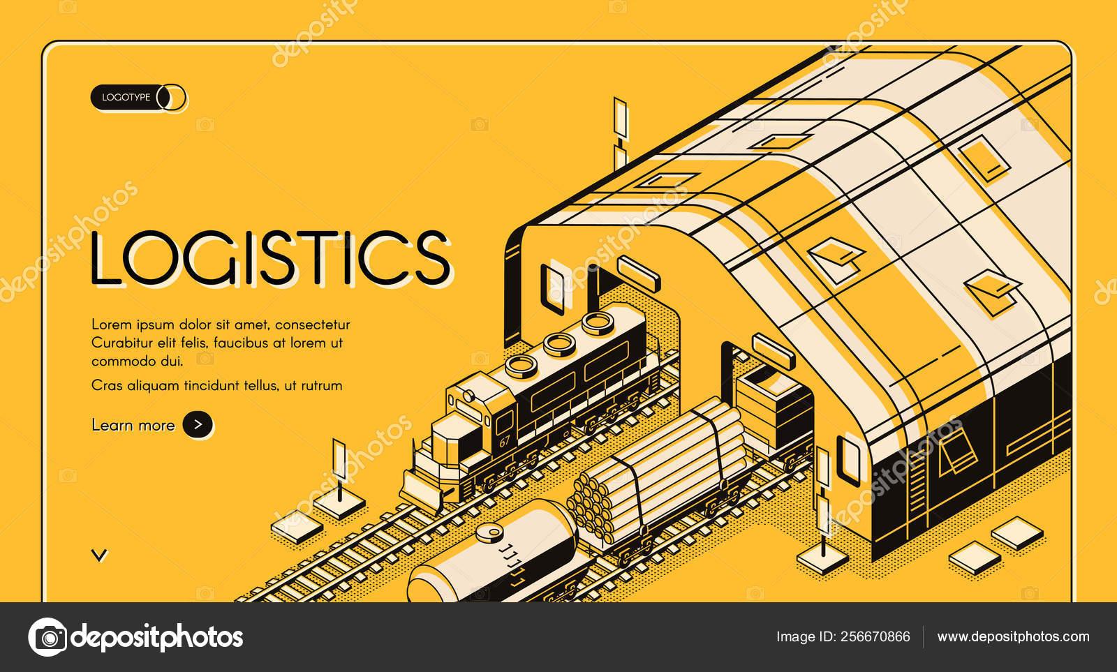 Warehouse logistics, railway wood global shipping — Stock