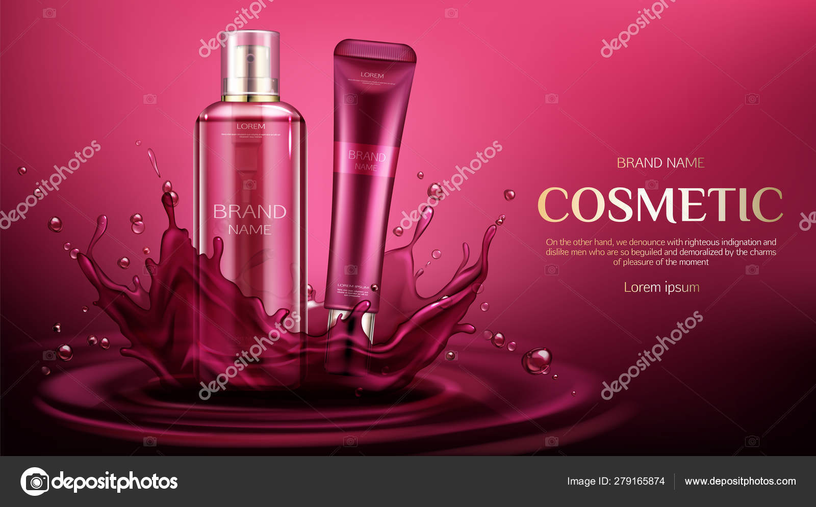 Cosmetic Bottles Mock Up Beauty Skin Care Product Stock Vector C Vectorpouch 279165874