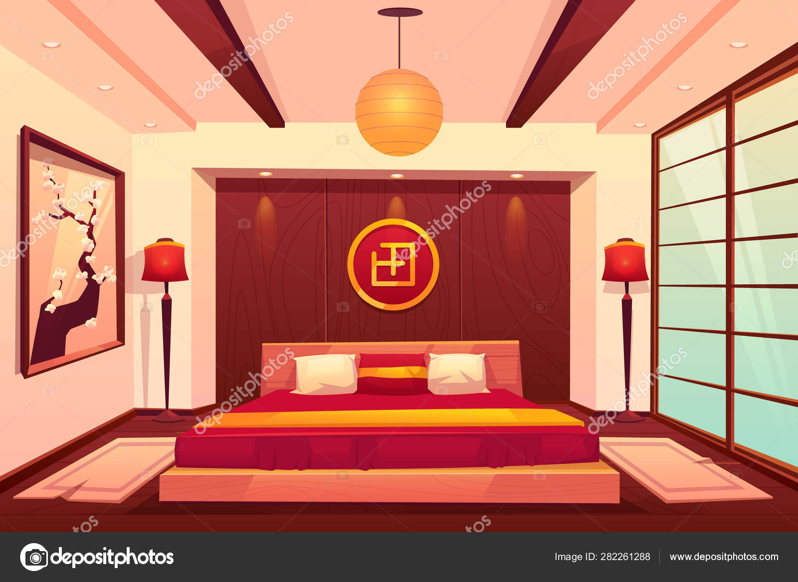 Camera da letto asiatica, cinese, giapponese, camera ...
