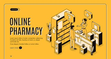 Online pharmacy isometric web banner. Healthcare