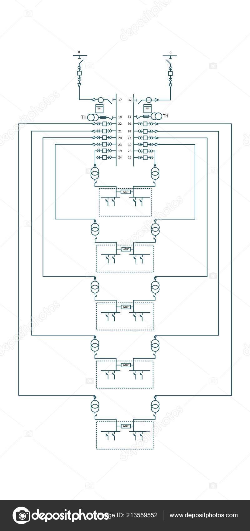 Schema Elettrico Wiring Diagram : Schema cablaggio elettrico trasformatori potenza u foto stock
