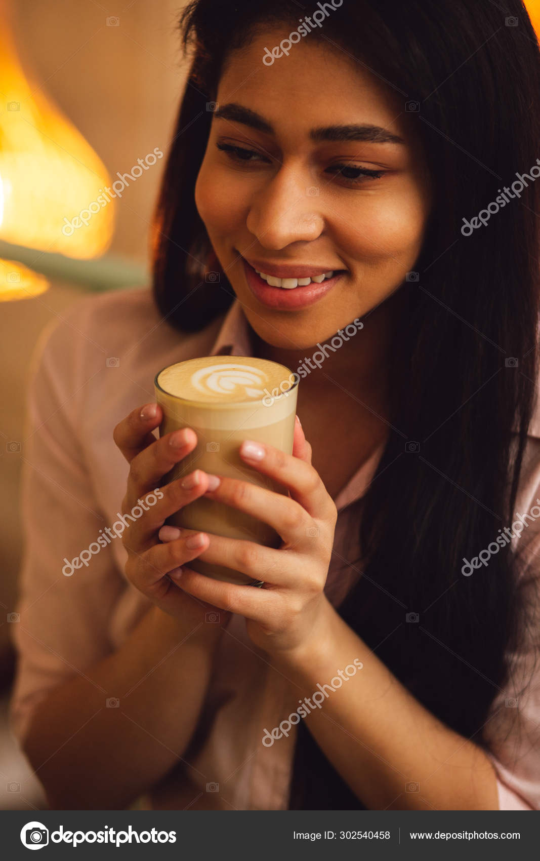 Close Pleased Young Dark Haired Woman Feeling Good Smiling