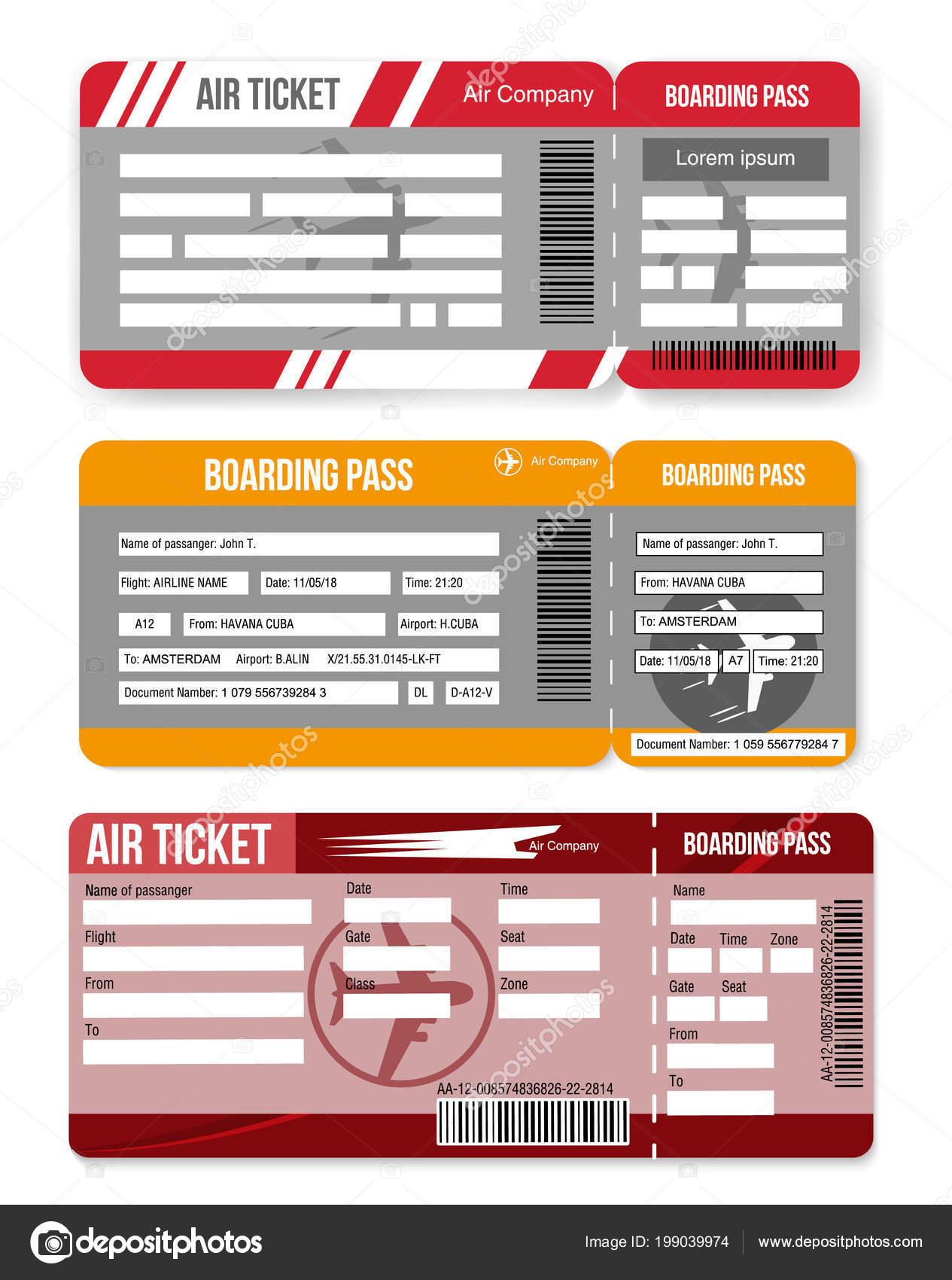 Ustaw Linie Lotnicze Kartę Pokładową Szablon Biletu Lotniczego Na