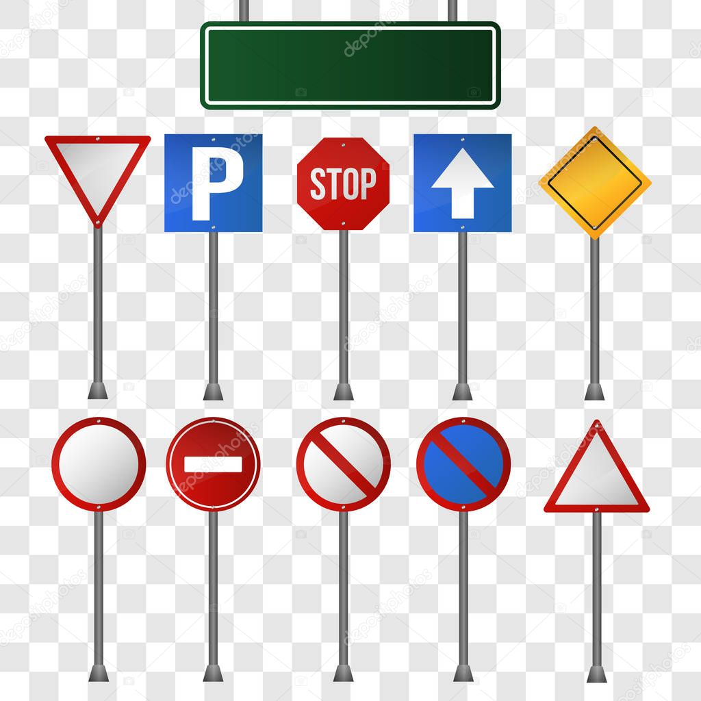 Set of road signs isolated on transparent background. Elements for infographic, social advertising, website design. Vector illustration.