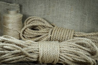 Jute twine, sackcloth fabric in close-up
