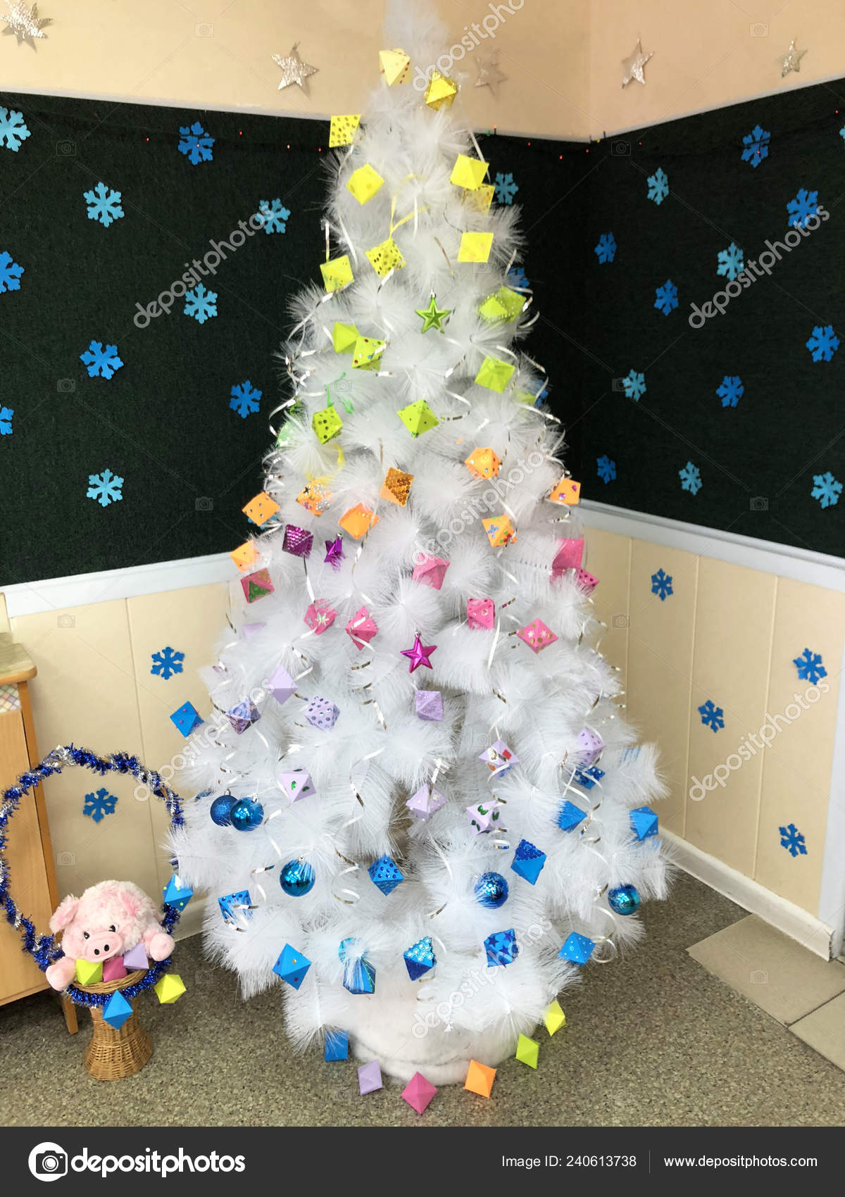 Beautiful White Christmas Tree Decorated New Year Multicolored Christmas Decorations Stock Photo Image By C Evgenstock 240613738