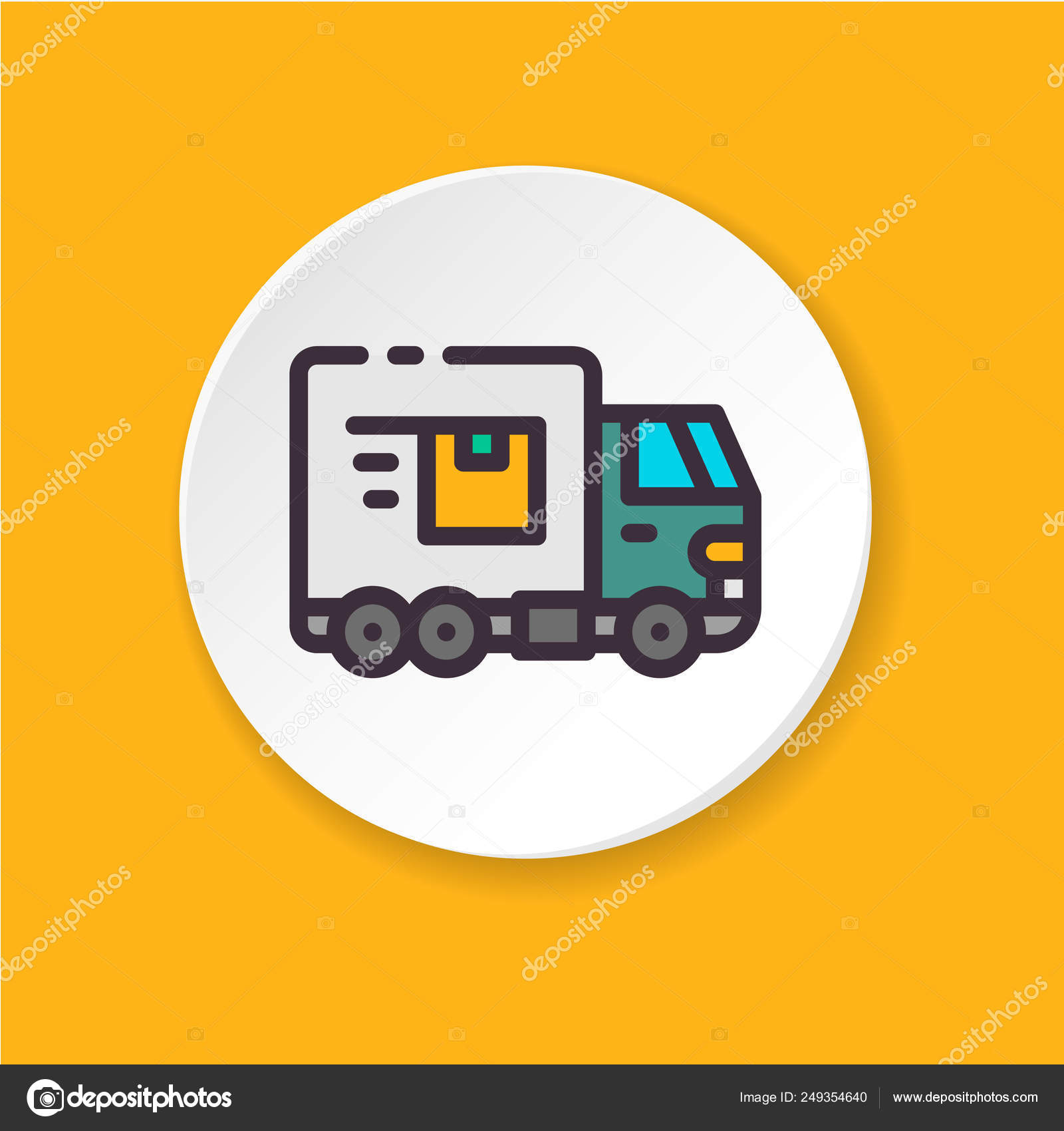 Truck Flat Color Icon Concept Shipping Export Import Product