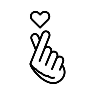Finger Heart line color icon. Music record K-POP concept. Korean culture. Pictogram for web, mobile app, promo.