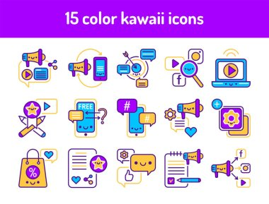 SMM promotion line color icons set. Signs for web page, mobile app, button, logo. Vector isolated element. Editable stroke. icon