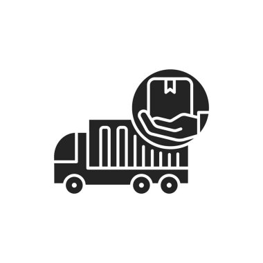 Moving Help black glyph icon. Help from the initial packing and wrapping to heavy lifting. Handyman services. Pictogram for web page, mobile app, promo. UI UX GUI design element. icon