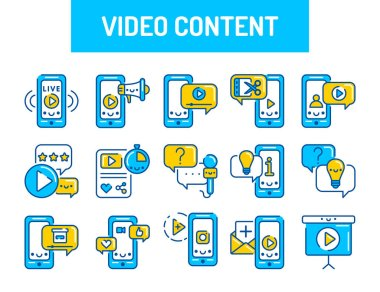 Custom video content color icons set. Signs for web page, mobile app, button, logo. Vector isolated element. Editable stroke icon