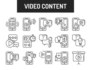 Custom video content black icons set. Signs for web page, mobile app, button, logo. Vector isolated element. Editable stroke icon