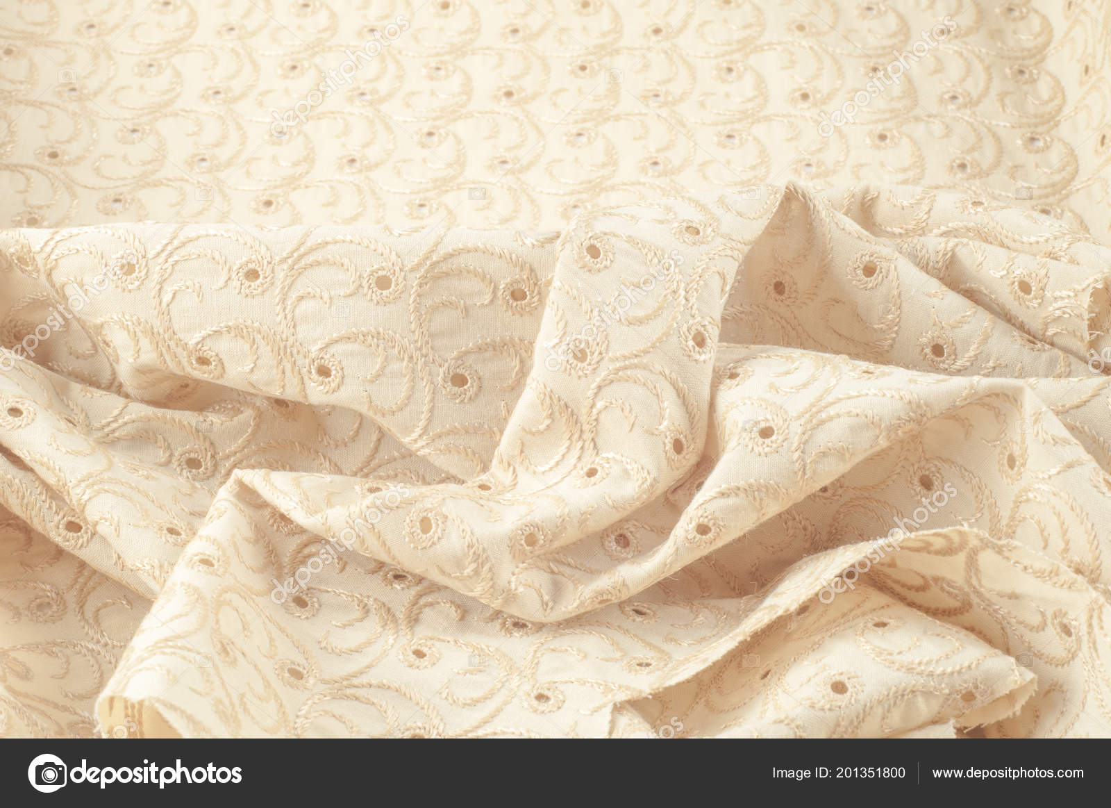 Texture Background Fabric Beige Fabric Punctured Circles Beige