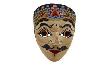 an Indonesian mask, topeng, maschera on white background