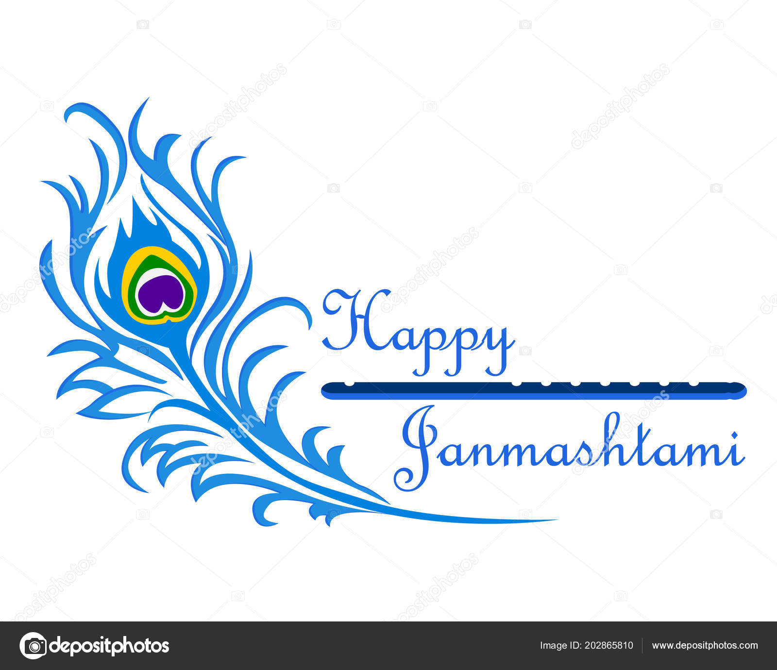 the inscription happy janmashtami with peacock feather and flute