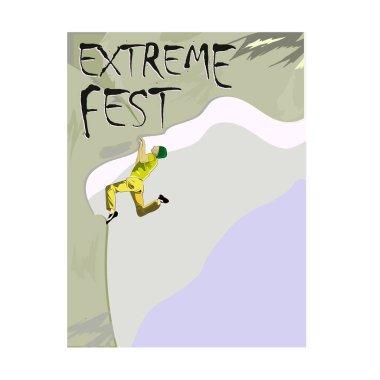 Aşırı tırmanma Festivali, kavram bir dağcı bir kayanın üzerinde şablon için bir poster görüntüsü ile