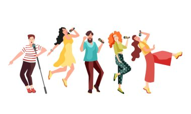 Singing and dancing with microphones young people. Girls and guys have fun at karaoke. Vector illustration clip art vector