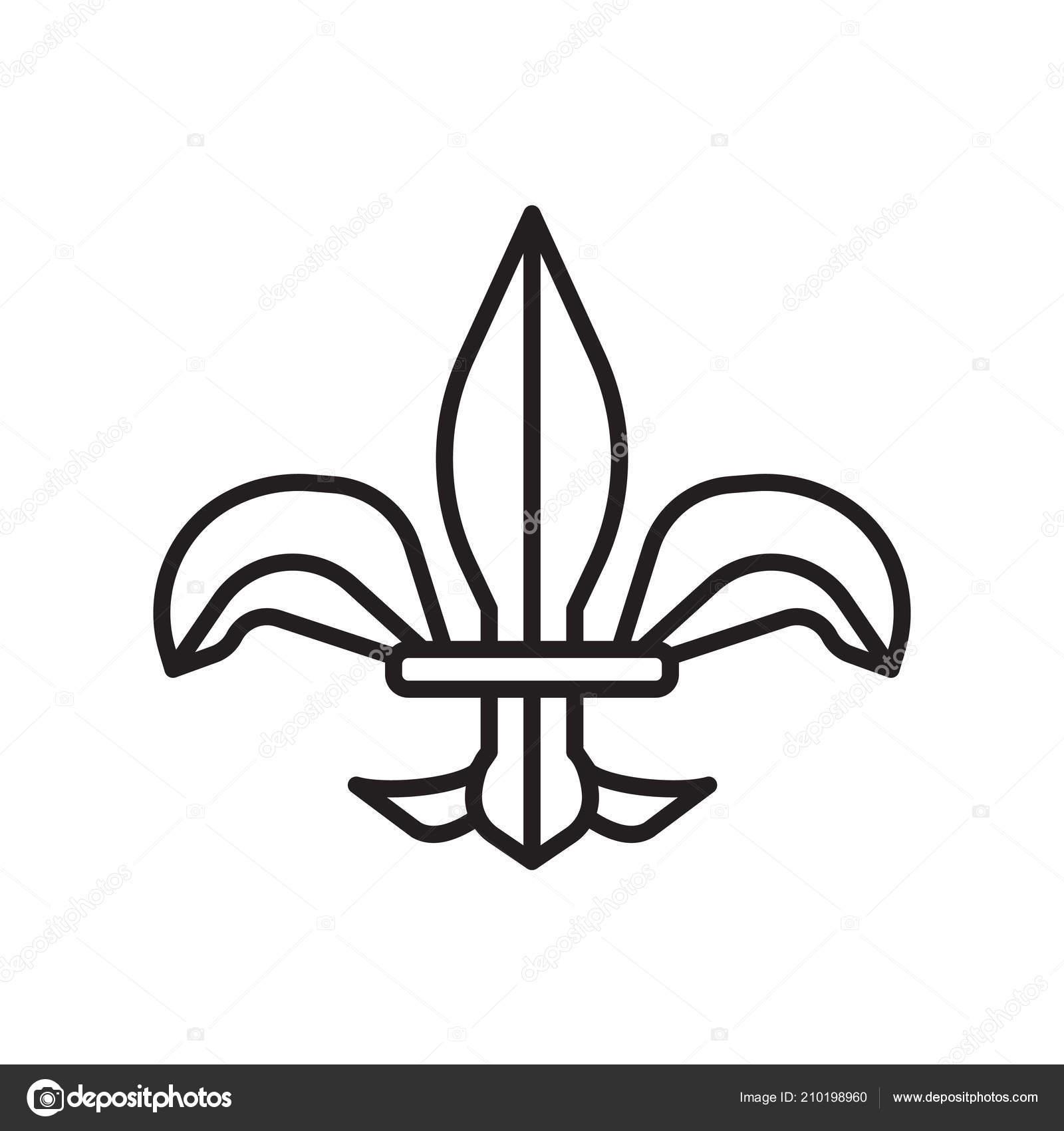 Fleur De Lis Icon Vector Isolated On White Background Fleur De