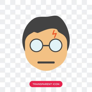 Harry potter smile vector icon isolated on transparent backgroun