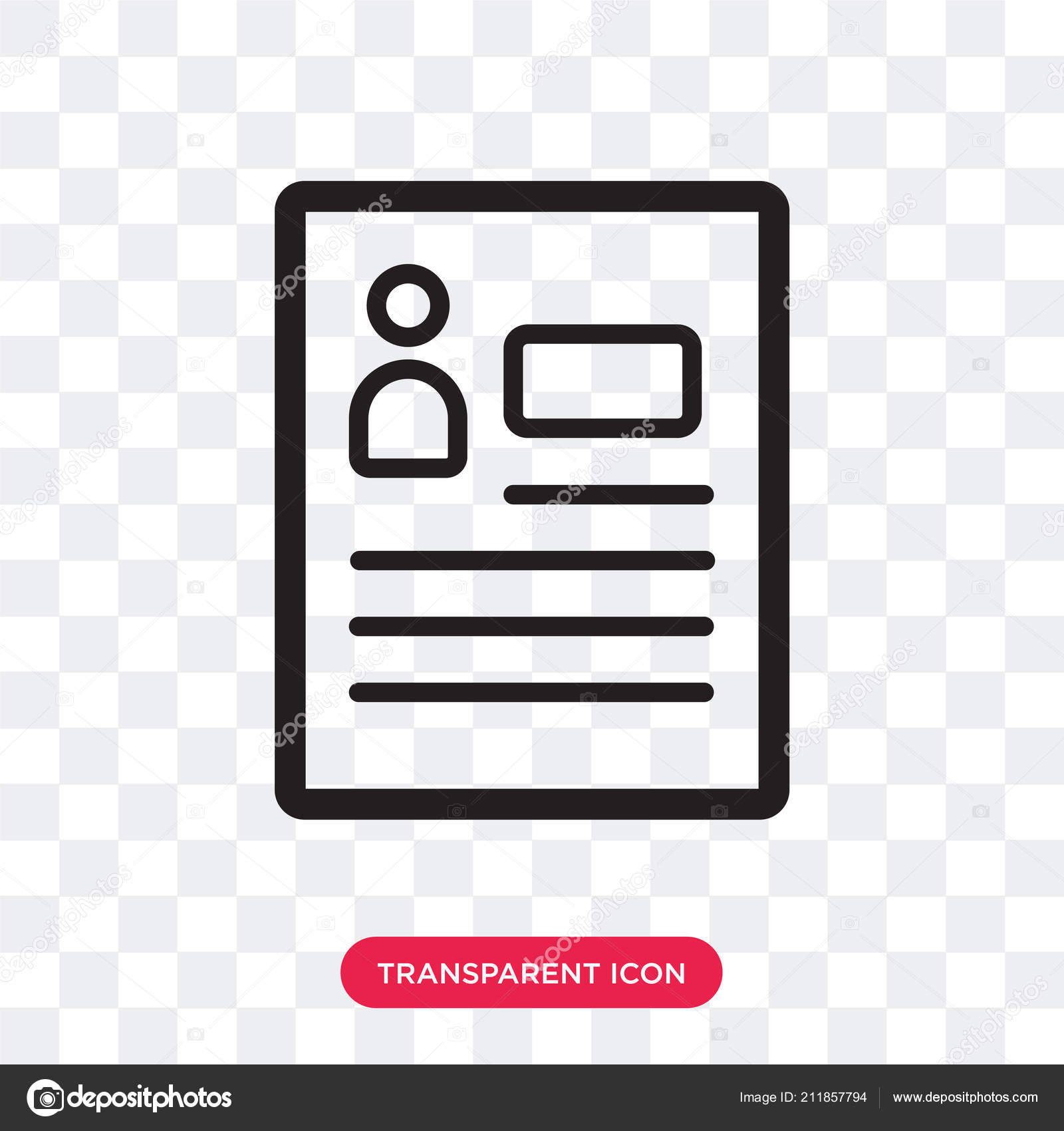 Resume Vector Icon Isolated On Transparent Background Resume Lo