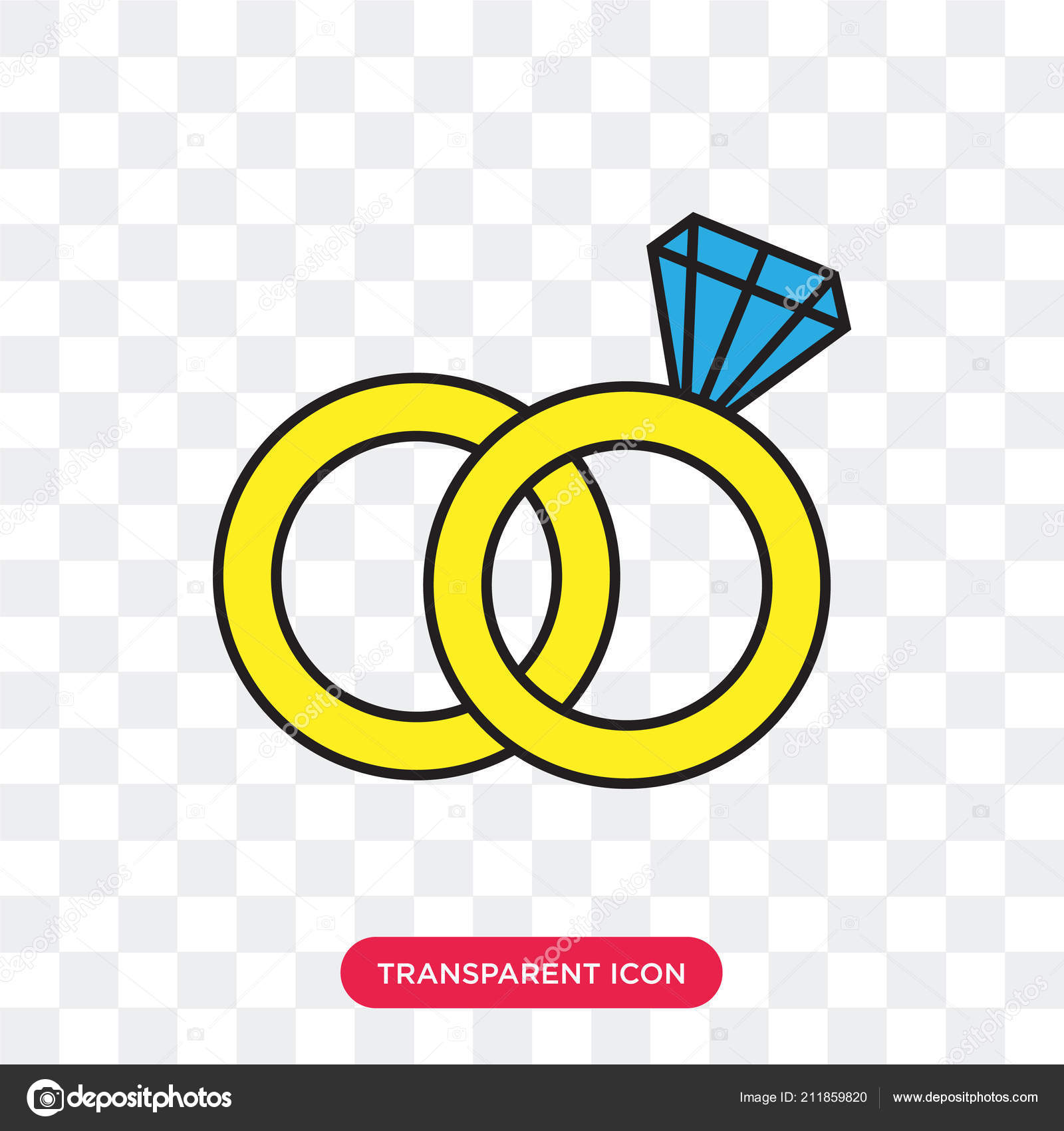 Wedding Rings Vector Icon Isolated On Transparent Background We