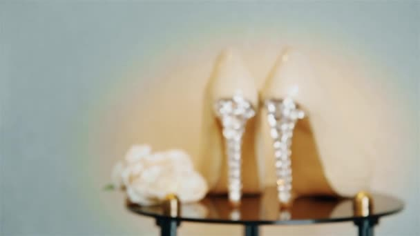 Wedding Shoes With High Heels Are On The Mirror Table Hd 1920 Stock Video C Mastak80 261840516