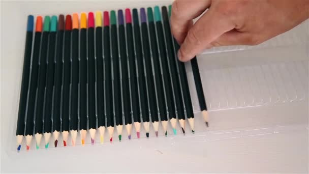 Sharpened colored pencils sorts man 1920x1080