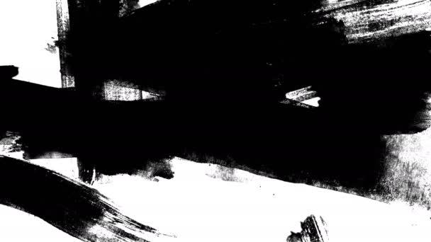 Mázolás a fehér háttér fekete festék mozgásban.Textúra vagy háttér 4k