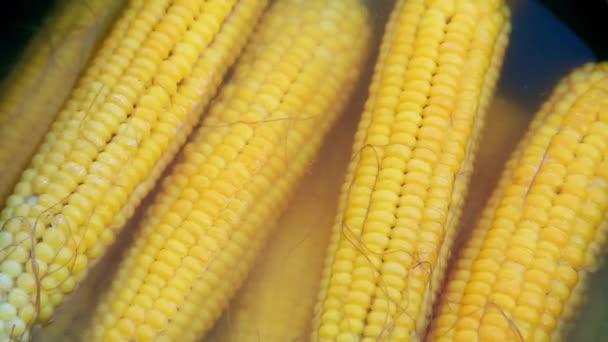 Na ulici v černém hrnci vařená žlutá kukuřice