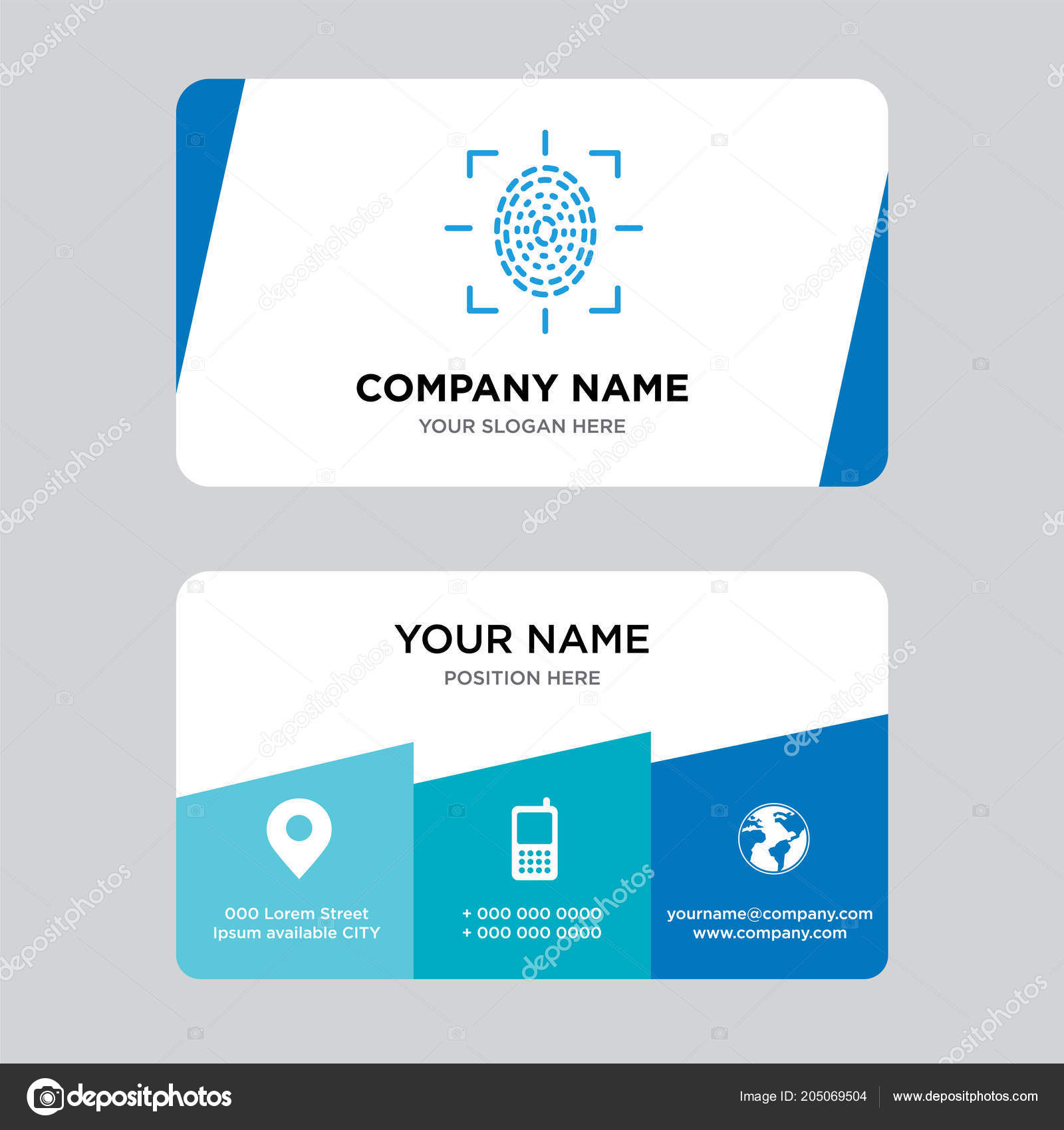 Fingerprint scan business card design template visiting your company fingerprint scan business card design template visiting your company modern stock photo reheart Image collections