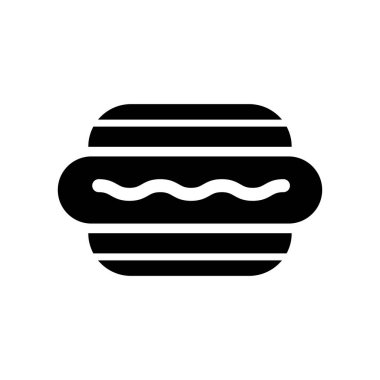 Hotdog and bread icon vector sign and symbol isolated on white b