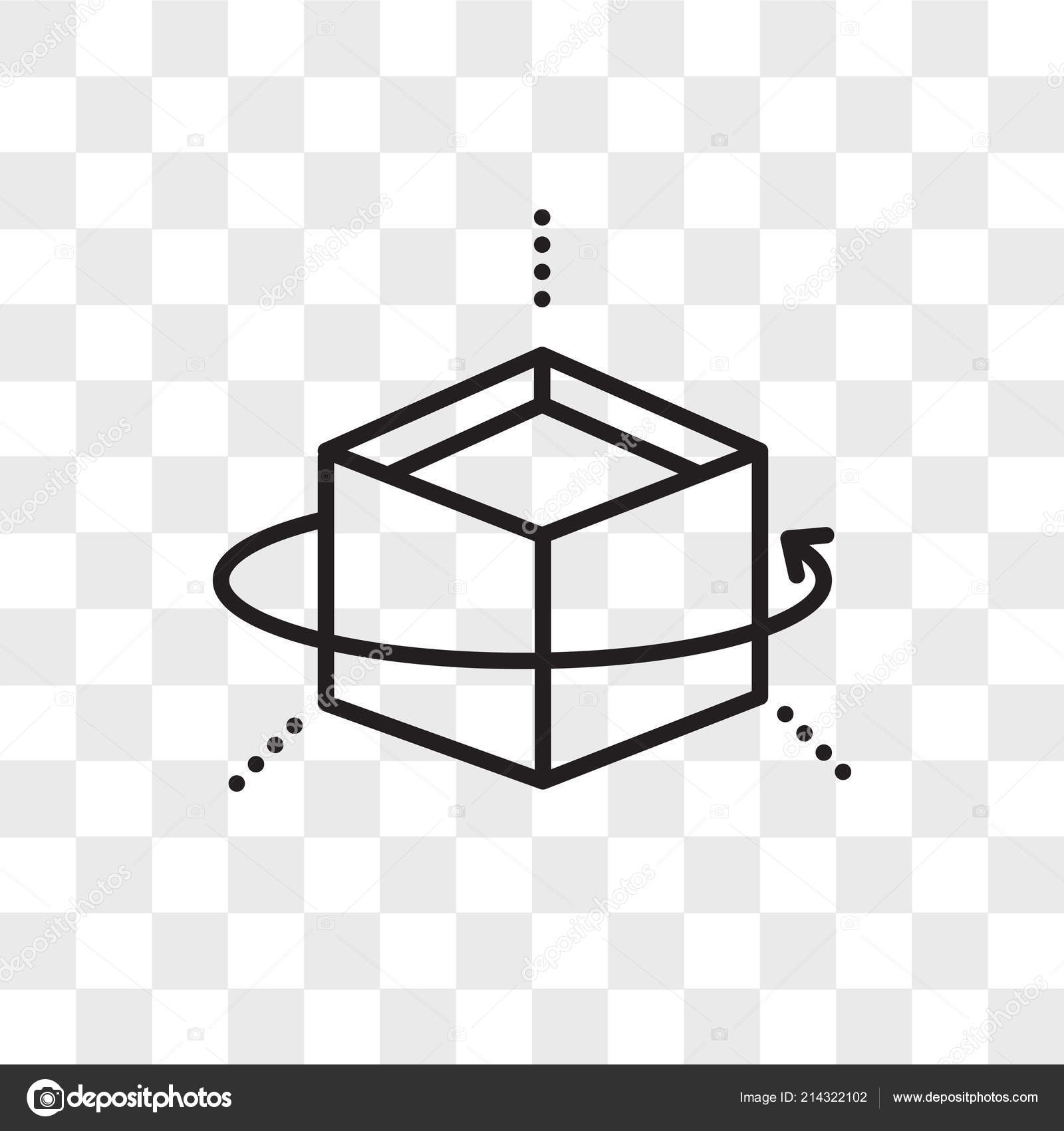 Cube vector icon isolated on transparent background, Cube