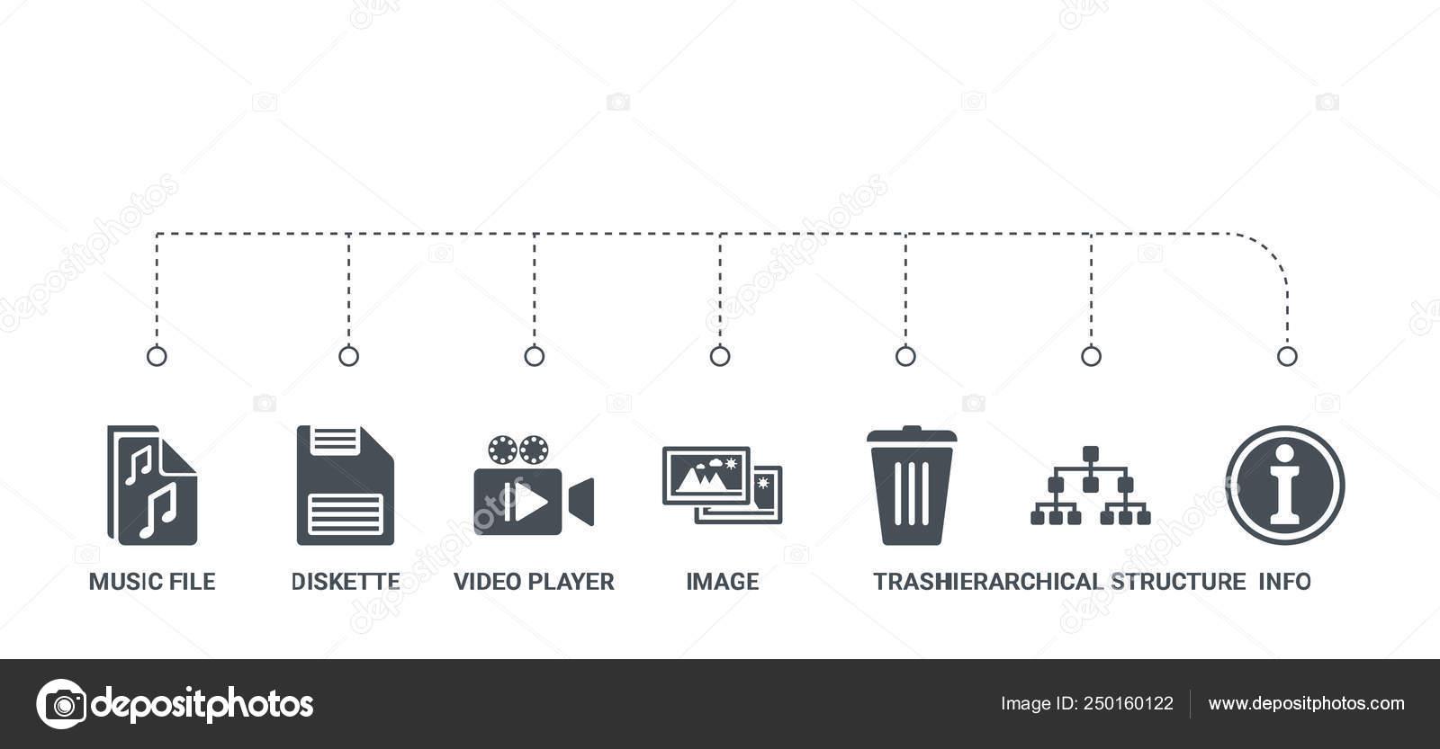 Sencillo Set De 7 Iconos Tales Como Información Estructura