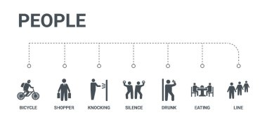 simple set of 7 icons such as line, eating, drunk, silence, knoc