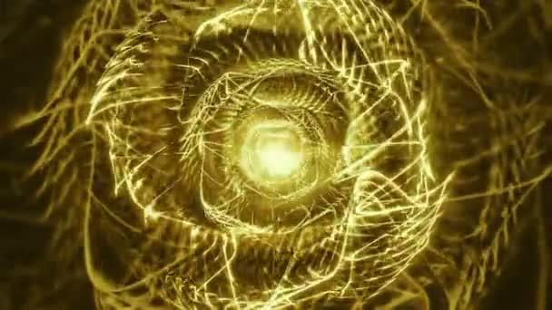 Thornz zlata / / 4 k psychedelickým organický vzorek Video pozadí smyčky. Excentrické video smyčky hrají organické rychle morfing zlaté obrazce, které připomínají trny nebo ostnatý drát.
