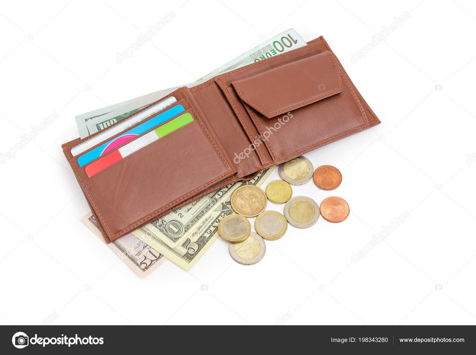 Amerikaanse Leren Bank.Open Bruin Lederen Portemonnee Met Bank Korting Kaarten