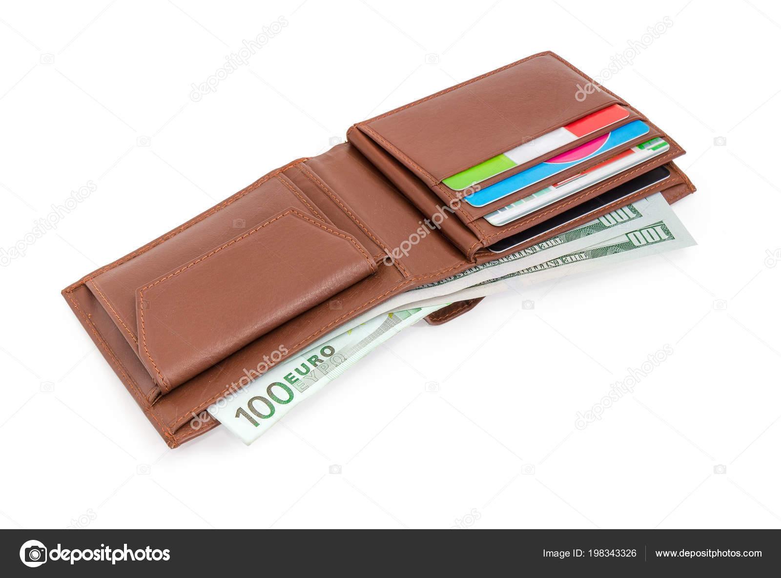 Amerikaanse Leren Bank.Open Bruin Lederen Portemonnee Met Bankbiljetten Van Amerikaanse