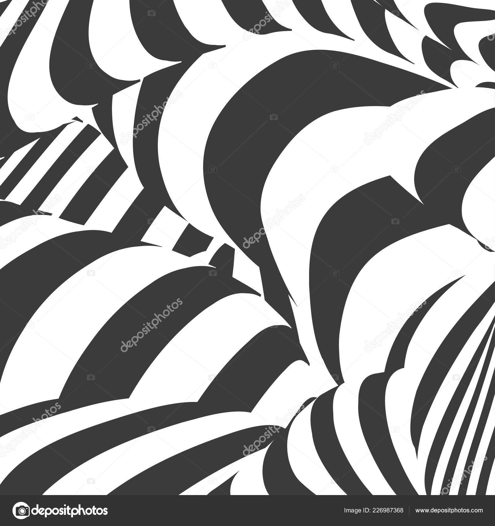 Black and white design abstract striped background optical illusion effect geometric tile in op art style vector illusive background texture