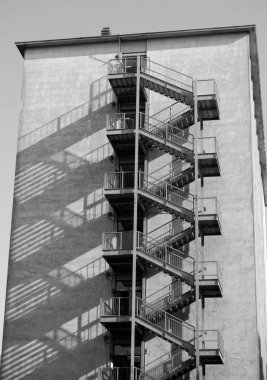 Metal stairs for five-storey emergency outside the building