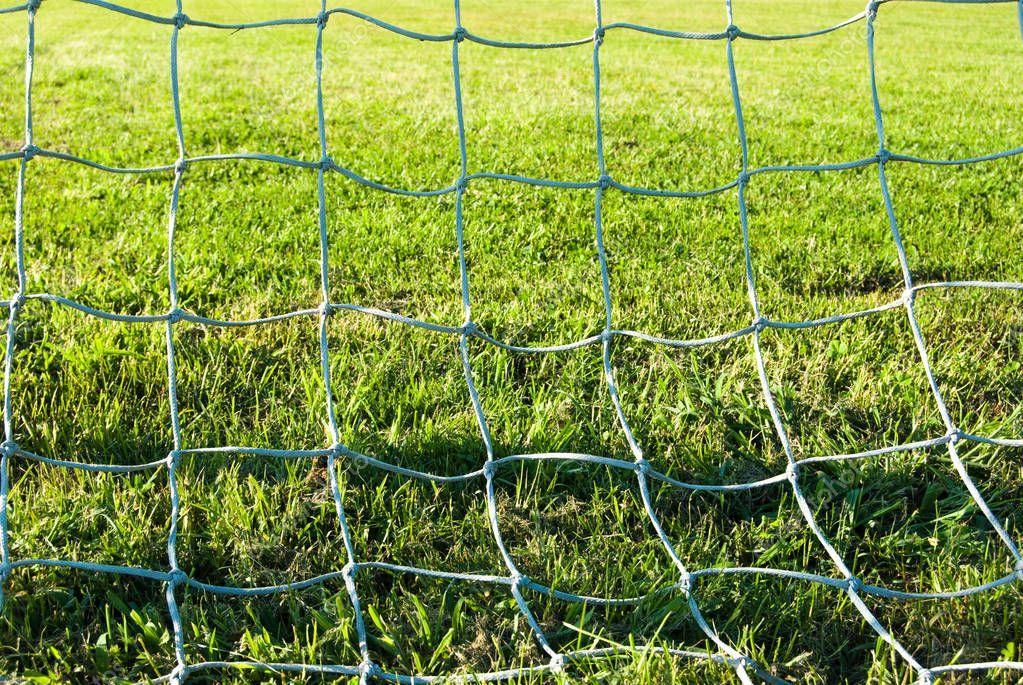 Green grass of a soccer field seen through the goal net