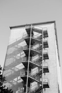 Metal stairs for five-storey emergency outdoor the building