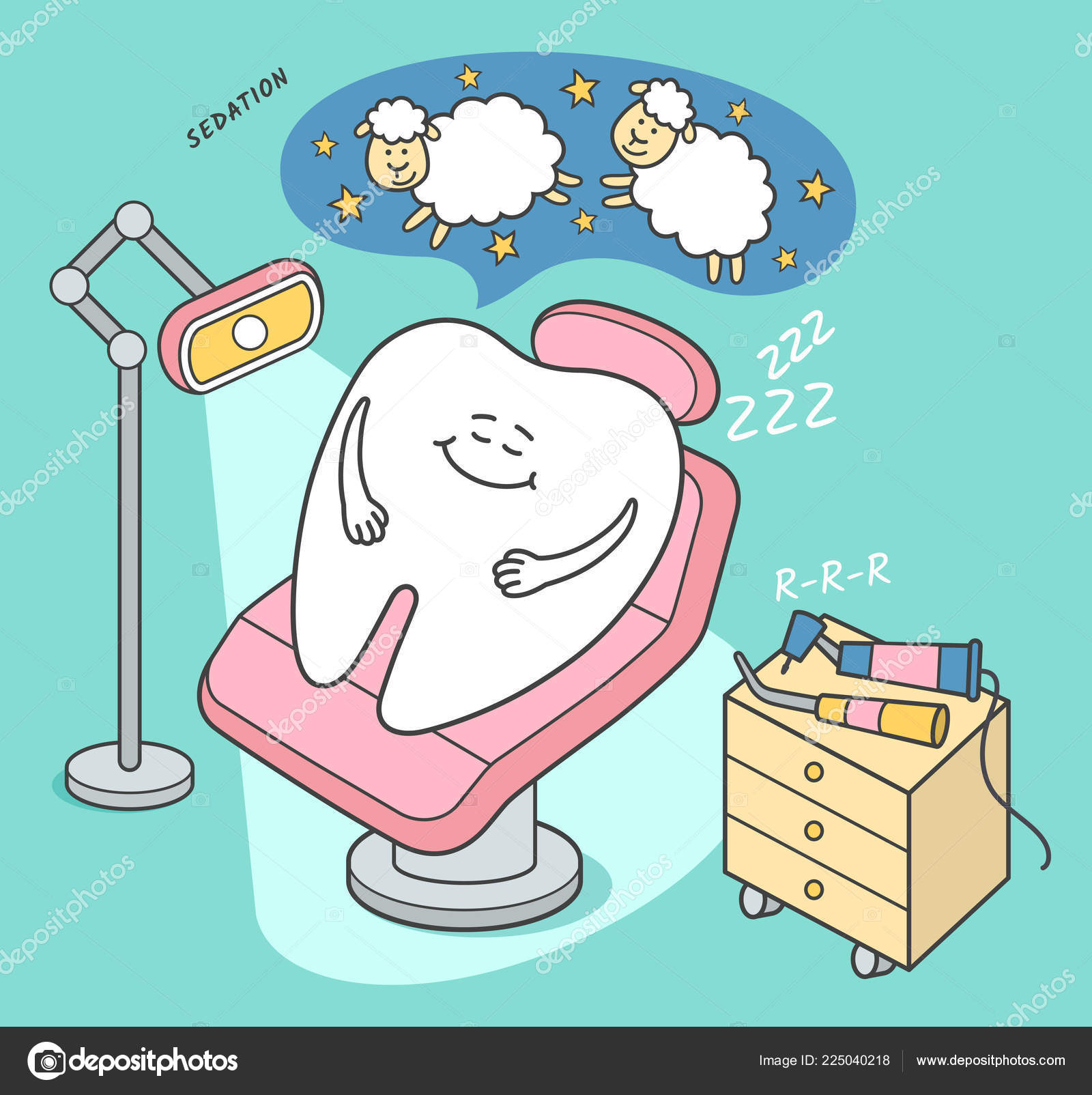 Pleasant Stomatology Sedation Illustration Cartoon Tooth Falls Asleep Theyellowbook Wood Chair Design Ideas Theyellowbookinfo