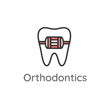 Orthodontics. Tooth with metal braces or bracket system. Dental icon or illustration.