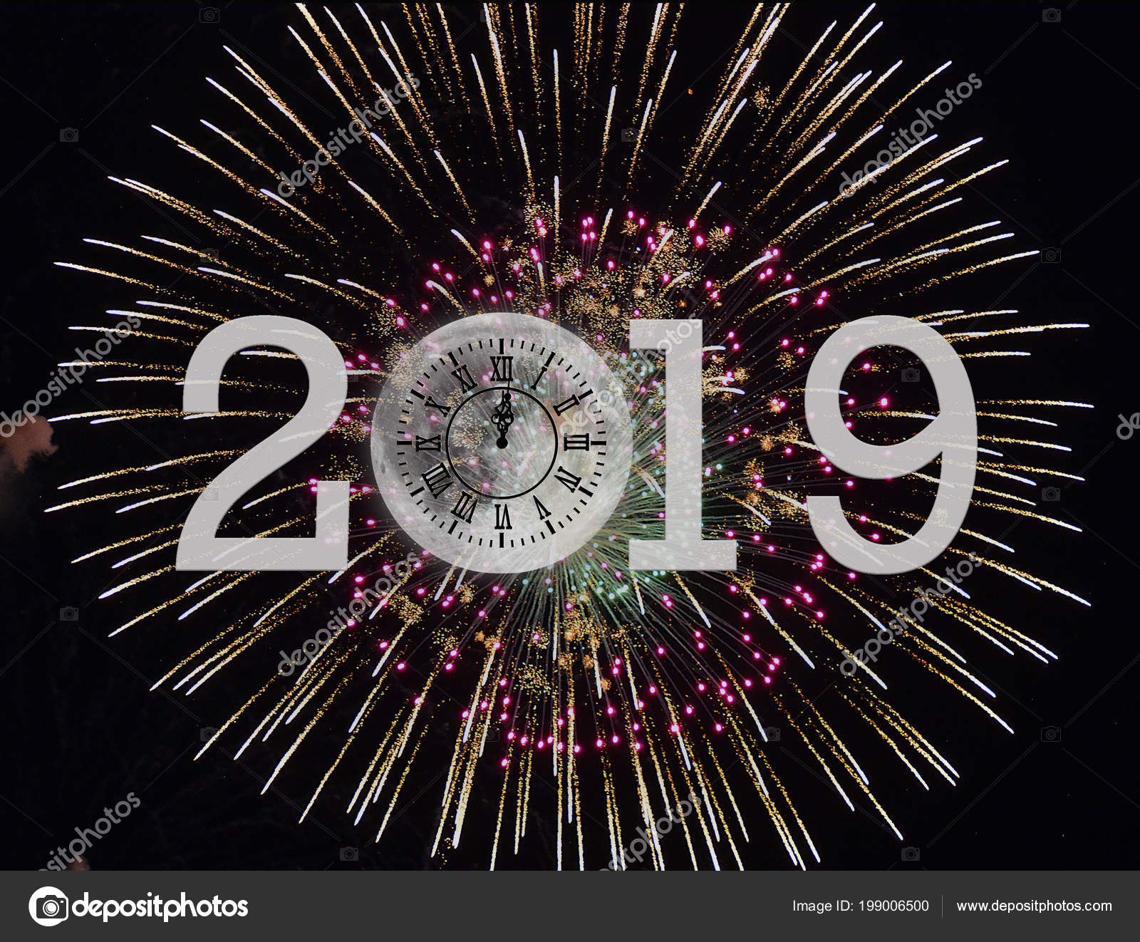 nouvel 2019 horloge feux artifice avec pleine lune sur fond photographie jentara 199006500. Black Bedroom Furniture Sets. Home Design Ideas